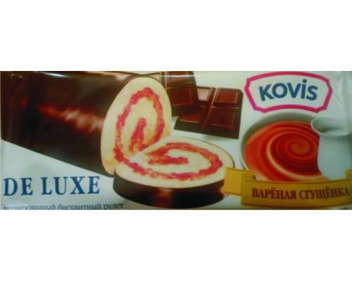 Рулет бисквитный ТМ Kovis De Luxe (Ковис де люкс) Вареная сгущенка, 200 г