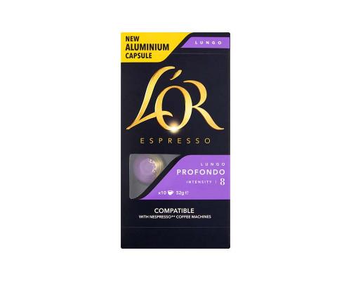 Кофе ТМ L`OR (Л`Ор) Espresso Lungo Profondo, натуральный, жареный, молотый, в алюминиевых капсулах, 10 шт.
