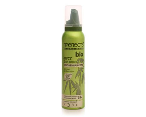Мусс для волос Жизненная сила сильная фиксация экстракт зеленого чая ТМ Прелесть