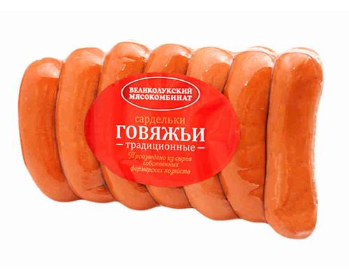Сардельки говяжьи Великолукский МК Традиционные 600г н/о