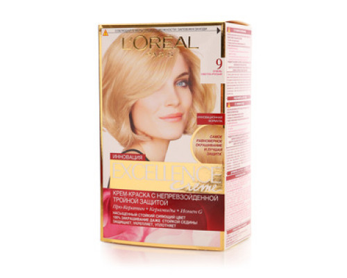 Крем-краска для волос 'Excellence Creme' 9 очень светло-русый ТМ L'Oreal Paris (Л'ореаль Париж)