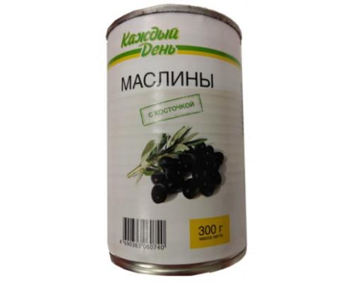 Маслины, ТМ Каждый день, с косточкой, 300 г