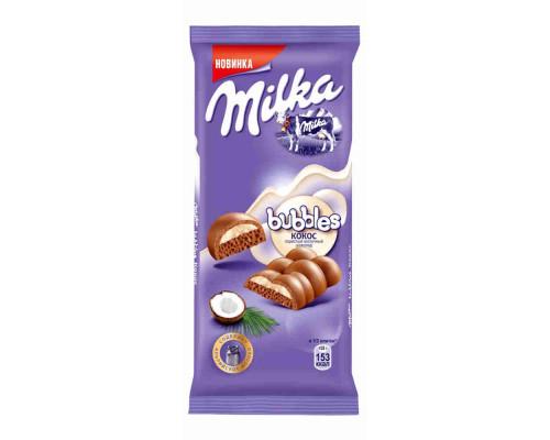 Шоколад ТМ Milka Bubbles, молочный пористый с кокосом 97 г