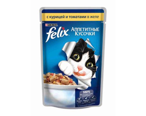 Корм д/кошек Felix с курицей и томатами 85г