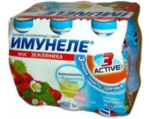 Напиток кисломолочный со вкусом земляники 1,2% ТМ Имунеле, 6*100 мл