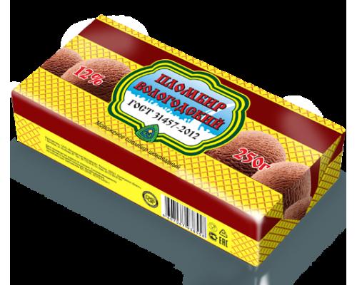 Мороженое Пломбир Вологодский ТМ Айсберри, шоколадный, 12%, 250 г