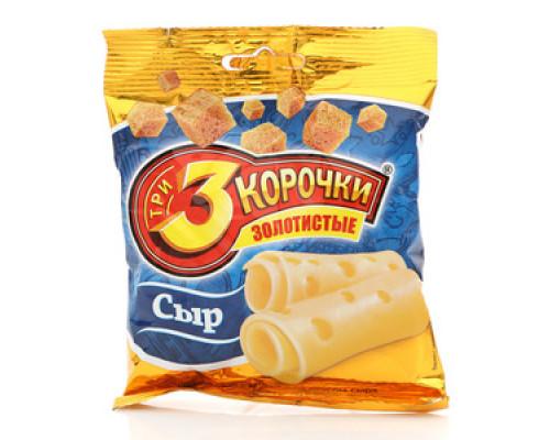 Сухарики пшеничные золотистые со вкусом сыра ТМ 3 Корочки