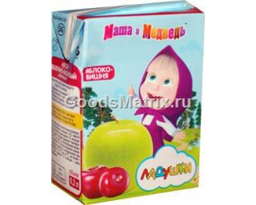 Нектар яблочно-вишневый ТМ Ладушки, Маша и Медведь, осветленный 0,2 л