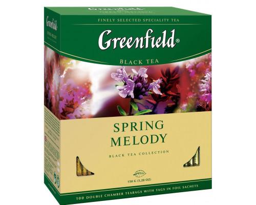 Чай ТМ Greenfield (Гринфилд) Spring Melody, черный, в пакетиках, 100 шт.