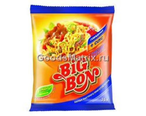 Лапша ТМ Big Bon (Биг Бон) с говядиной и соусом Томатный с базиликом, 75 г