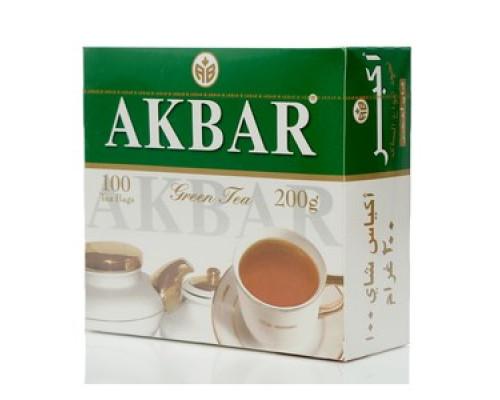 Чай зеленый Green Tea ТМ Akbar (Акбар), 100 пакетиков