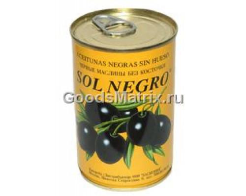 Маслины черные ТМ Sol Negro (Сол Негро) без косточек, 360 г