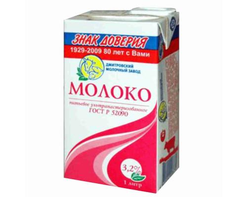 Молоко утп Дмитровский МЗ 3,2% 1л тп