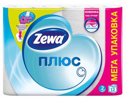 Туалетная бумага Zewa Plus белая 2сл 12шт