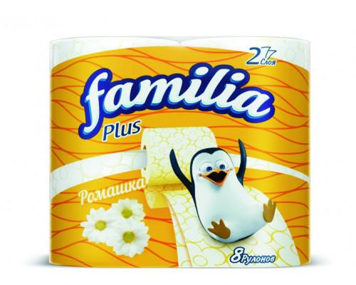 Туалетная бумага ТМ Familia Plus Ромашка, ароматизированная, двухслойная, цвет белый, 8 рулонов