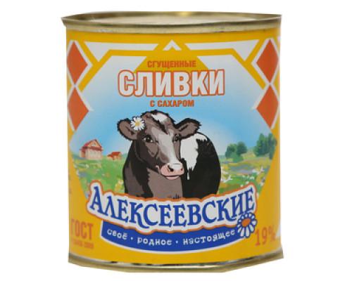 Сгущенные сливки с сахаром 19% ТМ Алексеевские
