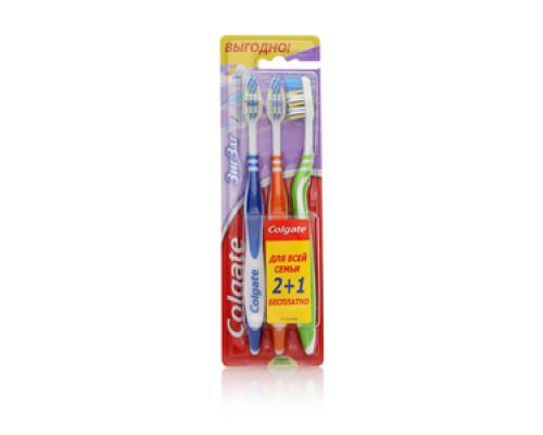 Набор зубных щеток Для всей семьи Зиг Заг Синяя Розовая Зеленая 2 + 1 ТМ Colgate (Колгейт)