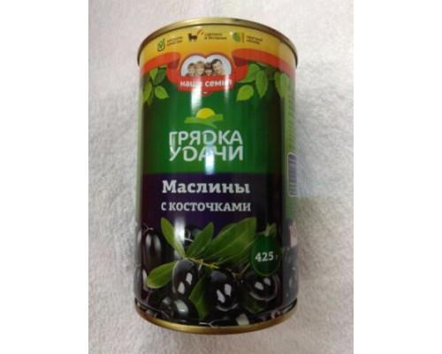 Маслины, ТМ Грядка удачи, с косточками, 425 г