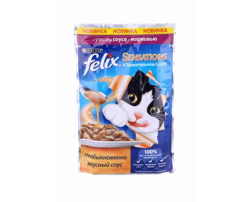 Корм д/кошек Felix Sensations утка/морковь в соусе 85г