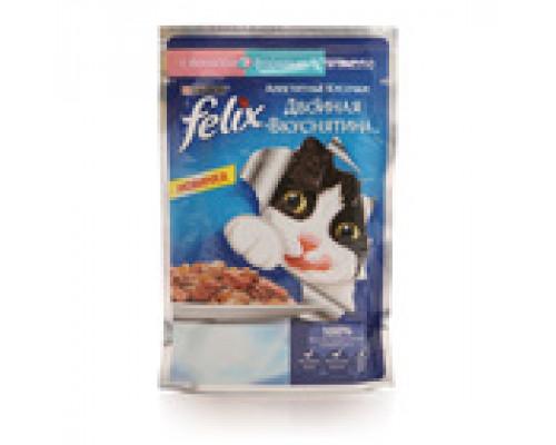 Корм для кошек Феликс Двойной вкус Лосось и Форель в желе 85 г