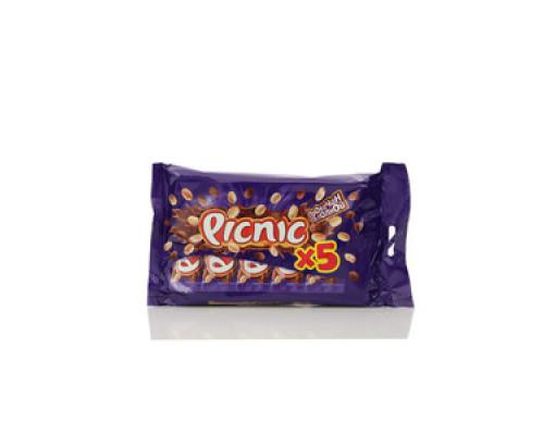 Шоколадный батончик с арахисом и изюмом, 5 батончиков ТМ Picnic (Пикник)