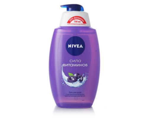 Гель для душа, Сила Витаминов, с чувственным ароматом  ягод асаи и антиоксидантами черники ТМ Nivea (Нивея)