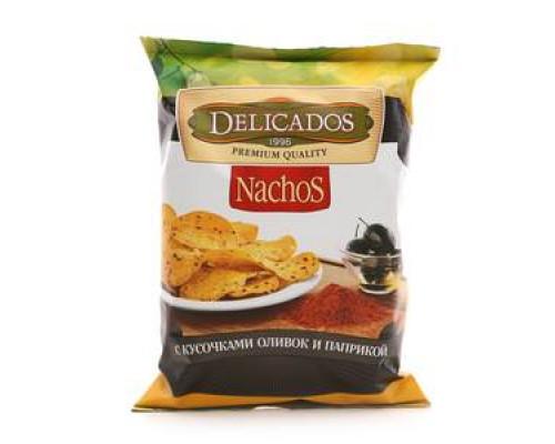 Чипсы кукурузные Nachos (Начос) с кусочками оливок и паприкой ТМ Delicados (Деликадос)