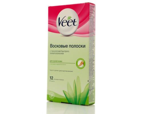 Восковые полоски для сухой кожи с алоэ вера и ароматом лотоса, 12 восковых полосок, 2 салфетки TM Veet (Вит)