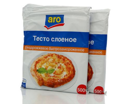 Тесто экстра слоеное бездрожжевое быстрозамороженное 2*500г ТМ Aro (Аро)