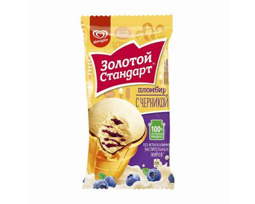 Мороженое пломбир Золотой Стандарт Черника  89г в/ст