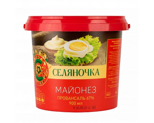 Майонез ТМ Селяночка, 67%, 900 мл