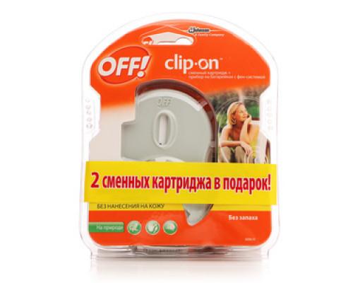 Защита от комаров 2 сменных картриджа + прибор на батарейках с фен-системой Clip-on ТМ ТМ Off! (Офф!)