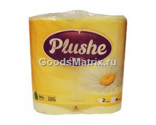 Туалетная бумага ТМ Plushe Classic (Плюше Классик), ромашка, 2 слоя, 4 шт.