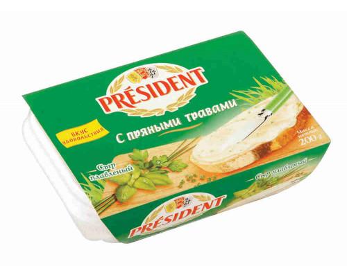 Сыр плавленый President с пряными травами 200г пл/в