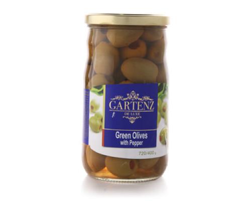 Оливки зеленые, фаршированные перцем ТМ Gartenz (Гартенз)
