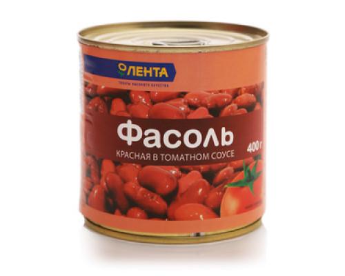 Фасоль красная в томатном соусе консервированная ТМ Лента