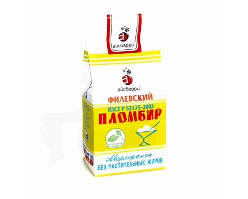 Мороженое пломбир Айсберри Филевское 450г б/пак