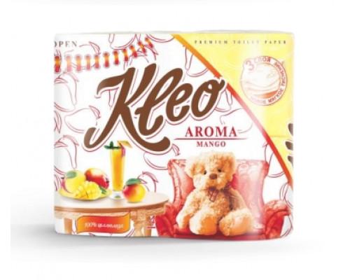Бумага туалетная ТМ Kleo (Клео), 3-слойная, с ароматом манго, 4 шт.