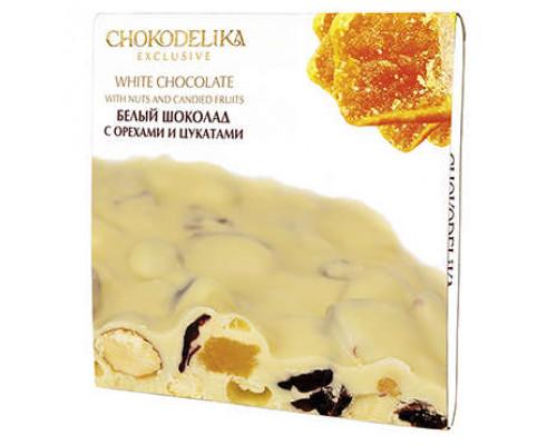 Шоколад белый ТМ Chokodelika (Шокоделика) с орехами и цукатами, 160 г