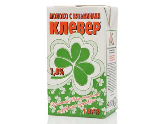 Молоко ТМ Клевер с витаминами ультрапастеризованное 1,0% 1 л.