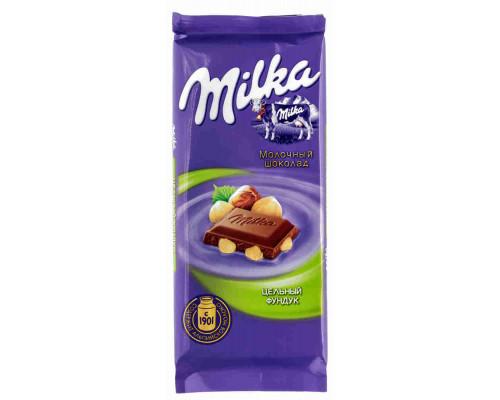 Шоколад ТМ Milka, молочный с цельным фундуком 90 г