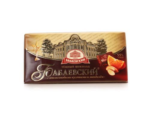 Шоколад темный с апельсиновыми кусочками и миндалём ТМ Бабаевский